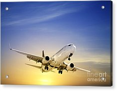 Jet Aeroplane Landing At Sunset Blue Yellow  Acrylic Print