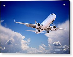 Jet Aeroplane Landing Through Gap In Stormy Sky Acrylic Print