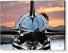 Airplane At Sunset Acrylic Print by Carolyn Marshall