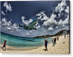 Jet Landing Over Maho Beach Acrylic Print