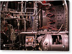 Jet Engine Red Vains Acrylic Print by Joseph Semary