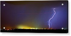 Jet Over Colorful City Lights And Lightning Strike Panorama Acrylic Print by James BO  Insogna