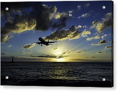 jetBlue landing at St. Maarten Acrylic Print by David Gleeson