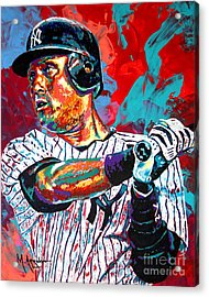 Jeter At Bat Acrylic Print by Maria Arango