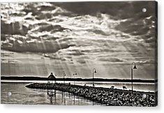 Jetty And Sunrays In Bw Acrylic Print by Greg Jackson