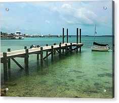 Jetty Old Boat Acrylic Print by Sarah-jane Laubscher