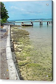 Jetty Old Boats Acrylic Print by Sarah-jane Laubscher