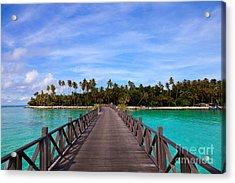 Jetty On Tropical Island Acrylic Print by Fototrav Print