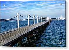 Jetty Stretching To The Ocean Acrylic Print by Kaye Menner