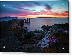Jetty Sunset 2 Acrylic Print by Fiona Messenger