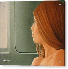 Jeune Fille Dans Un Train Acrylic Print by Michel Campeau