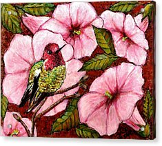 Acrylic Print featuring the painting Jewel Among Blooms by VLee Watson