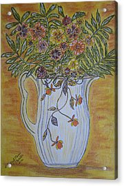 Acrylic Print featuring the painting Jewel Tea Pitcher With Marigolds by Kathy Marrs Chandler