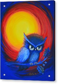 Acrylic Print featuring the painting Jewel-tone Vortex With Owl by Agata Lindquist