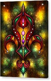Jeweled Fleur De Lis Acrylic Print by Mandie Manzano