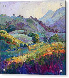 Jeweled Hills Acrylic Print by Erin Hanson