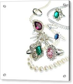 Jewellery With Gemstones And Diamonds Acrylic Print