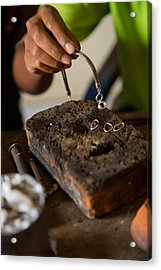 Acrylic Print featuring the photograph Jewelry Making - Bali by Matthew Onheiber