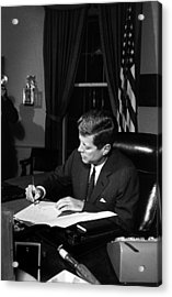 Jfk Signing The Cuba Quarantine Acrylic Print by War Is Hell Store