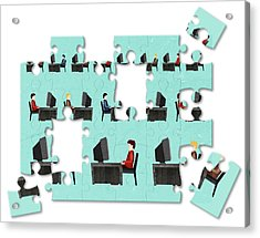 Jigsaw Puzzle Of Businessmen Acrylic Print by Fanatic Studio / Science Photo Library