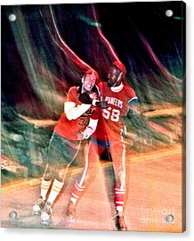 Jim Fitzpatrick Vs Charles Gipson Battling In Old School Roller Derby With The Sf Bay Bombers Acrylic Print by Jim Fitzpatrick