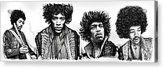 Jimi Hendrix Art Drawing Sketch Poster  Acrylic Print by Kim Wang