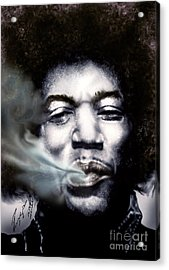 Jimi Hendrix-burning Lights-2 Acrylic Print