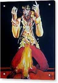 Jimi Hendrix - Fire Acrylic Print by Tom Carlton