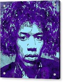 Jimi Hendrix In Purple Acrylic Print by Daniel Hagerman