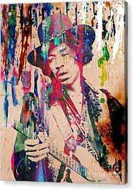 Jimi Hendrix Original Acrylic Print by Ryan Rock Artist