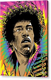 Jimi Hendrix Pop Art Acrylic Print by Jim Zahniser