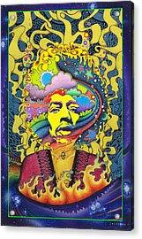 Jimi Hendrix Rainbow King Acrylic Print by Jeff Hopp