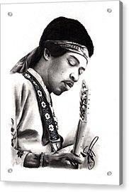 Jimi Hendrix Acrylic Print by Rosalinda Markle