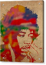 Jimi Hendrix Watercolor Portrait On Worn Distressed Canvas Acrylic Print