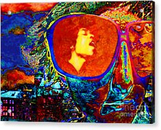 Acrylic Print featuring the digital art Jimi Lives by Mojo Mendiola