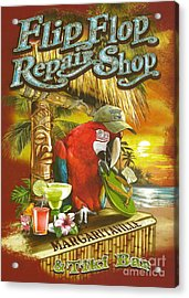 Jimmy Buffett's Flip Flop Repair Shop Acrylic Print by Desiderata Gallery