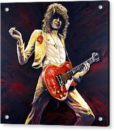 Jimmy Page Achilles Last Stand Acrylic Print by Mike Underwood