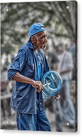 Jj And The Plastic Water Carboy Acrylic Print by John Haldane
