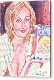 Jk Rowling Happy Acrylic Print by Horacio Prada