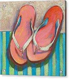 Pink Flip Flops Acrylic Print by Jen Norton