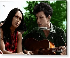 Joan Baez With Bob Dylan Acrylic Print by Celestial Images