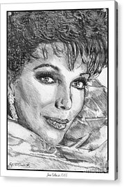 Joan Collins In 1985 Acrylic Print by J McCombie