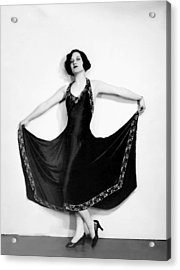 Joan Crawford, In A Black Satin Gown Acrylic Print by Everett