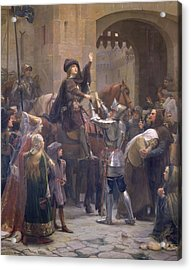 Joan Of Arc 1412-31 Leaving Vaucouleurs, 23rd February 1429 Oil On Canvas Acrylic Print by Jean-Jacques Scherrer