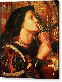 Joan Of Arc Kissing The Sword Acrylic Print by Dante Gabriel Charles Rossetti