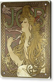 Job, 1896 Colour Lithograph On Poster Paper, Framed Acrylic Print by Alphonse Marie Mucha