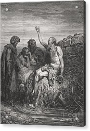 Job And His Friends Acrylic Print by Gustave Dore