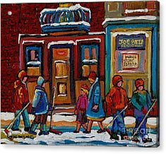 Joe Beef Restaurant And Boys With Hockey Sticks Acrylic Print by Carole Spandau