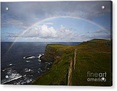 Joe Fox Fine Art - Large Rainbow In The Rain On The North Coast Of Ireland Acrylic Print by Joe Fox