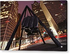 Joe Louis Fist Statue Detroit Michigan Night Time Shot Acrylic Print by Gordon Dean II